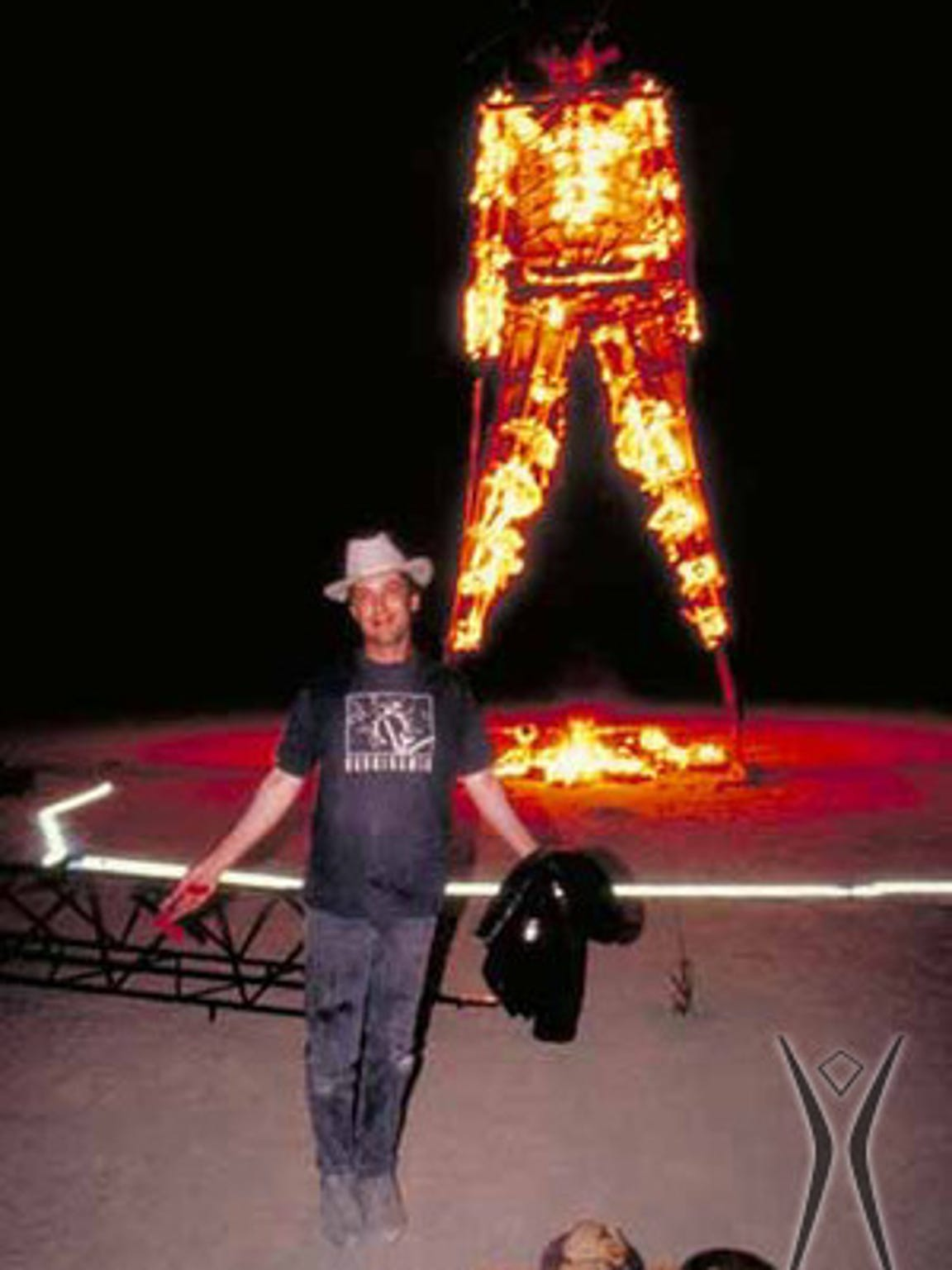 Burning Man founder Larry Harvey is pictured in 1990