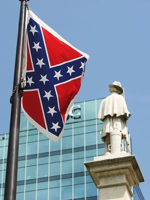The Confederate flag has flown on the grounds of the South Carolina Statehouse in Columbia atop a pole beside the Confederate Soldier's Monument on the Capitol's front lawn since 2000.