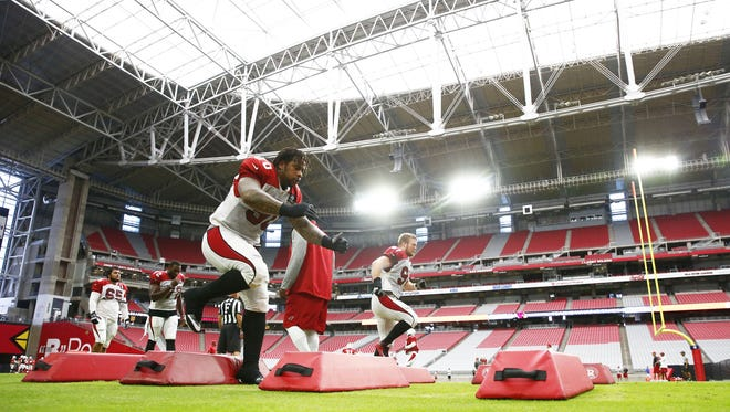 Arizona Cardinals defensive tackles (90) Robert Nkemdiche (97) Josh Mauro during training camp on Jul. 24, 2017 in Glendale, AZ.
