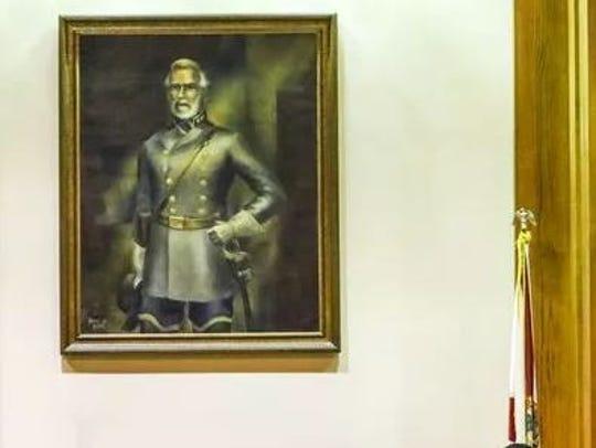 Controversy over portrait of Robert E. Lee in confederate
