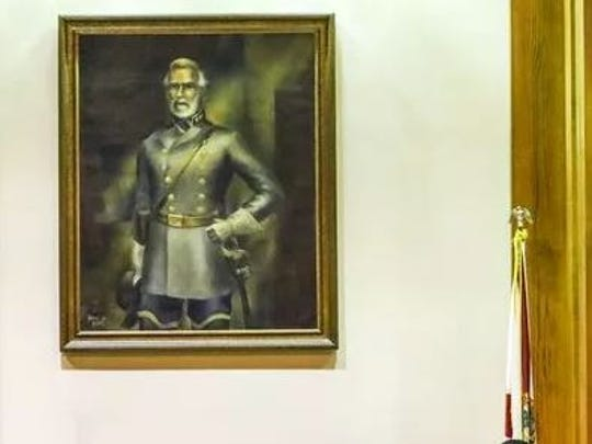 Controversy over portrait of Robert E. Lee in confederate Civil War uniform stirred emotions months ago but has become quiet in recent months.
