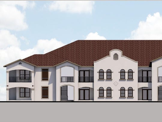 A rendering of one of the apartment buildings for The Crest of Naples, which will wrap around a future retail center, Vincentian Village, on the corner of U.S. 41 East and Southwest Boulevard in East Naples.