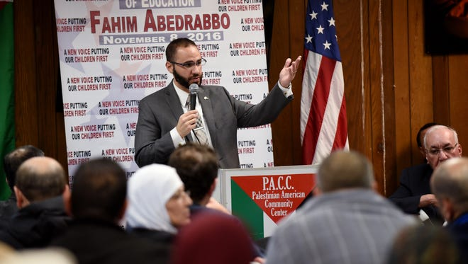 Fahim Abedrabbo, the first Muslim elected official in Clifton, speaks at a celebration held in his honor at The Palestinian American Community Center on Lakeview Avenue. The atmosphere was one of conflict because of the uncertainty surrounding President Donald Trump's policies regarding Muslim-Americans.