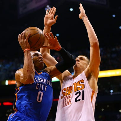 March 29, 2015; Oklahoma City Thunder guard Russell