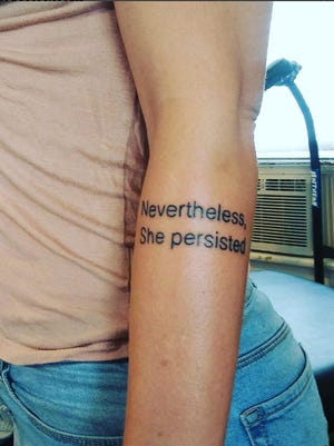 "Melissa Montilla shows off her ""Nevertheless, she persisted"" tattoo on Instagram."