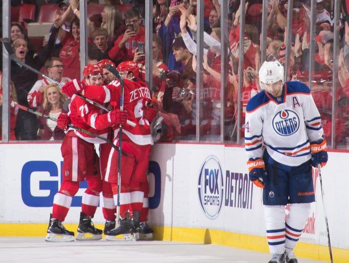 Edmonton Oilers right wing Jordan Eberle skates away