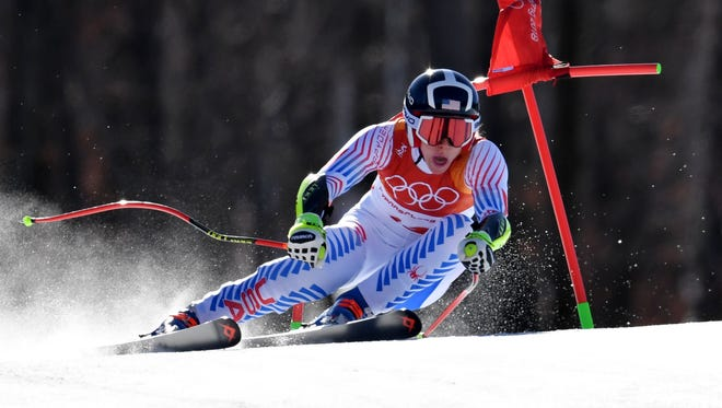 Laurenne Ross (USA) competes in the alpine skiing Super-G event during the Pyeongchang 2018 Olympic Winter Games at Jeongseon Alpine Centre.  Mandatory Credit: Eric Bolte-USA TODAY Sports