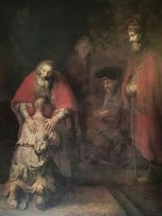 Rembrandt's depiction of the prodigal son.