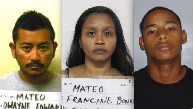 Three of five suspects in a drugs case are shown in this combined photo. From left, Dwayne Fejeran Mateo, Francine Bonnie Mateo and Daniel Thomas Sanchez.