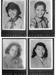 Cynthia Wesley, Addie Mae Collins, Denise McNair and Carol Robertson, who were killed in the bombing of the Sixteenth Street Baptist Church in Birmingham in 1963, are portrayed in portraits displayed at the church.