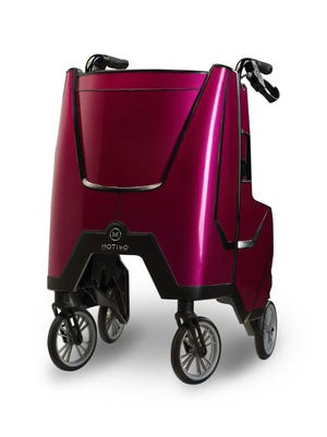 The 2018 Motivo Tour Walker from New Berlin-based Motivo, Inc. has a flip-out tray with multiple cupholders, a large storage compartment and a stow-away padded seat.