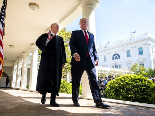 Justice Anthony Kennedy, with President Trump at the White House in April 2017 for the swearing-in of Justice Neil Gorsuch.