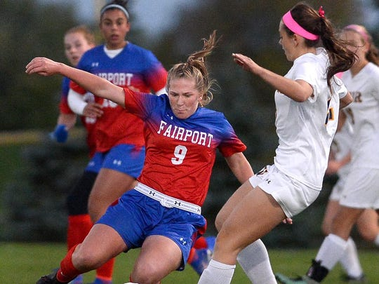 Fairport's Zoe Janes, left, was an All-Greater Rochester pick last fall for the Red Raiders.