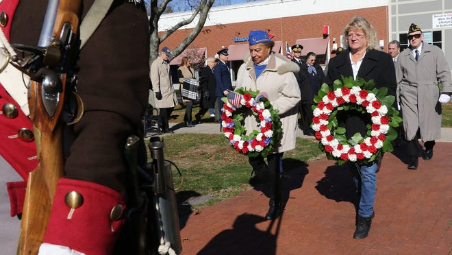 Bedford's Veterans Day procession heads into Veterans Memorial Park Nov. 11, 2017, This year, the service will be virtual.