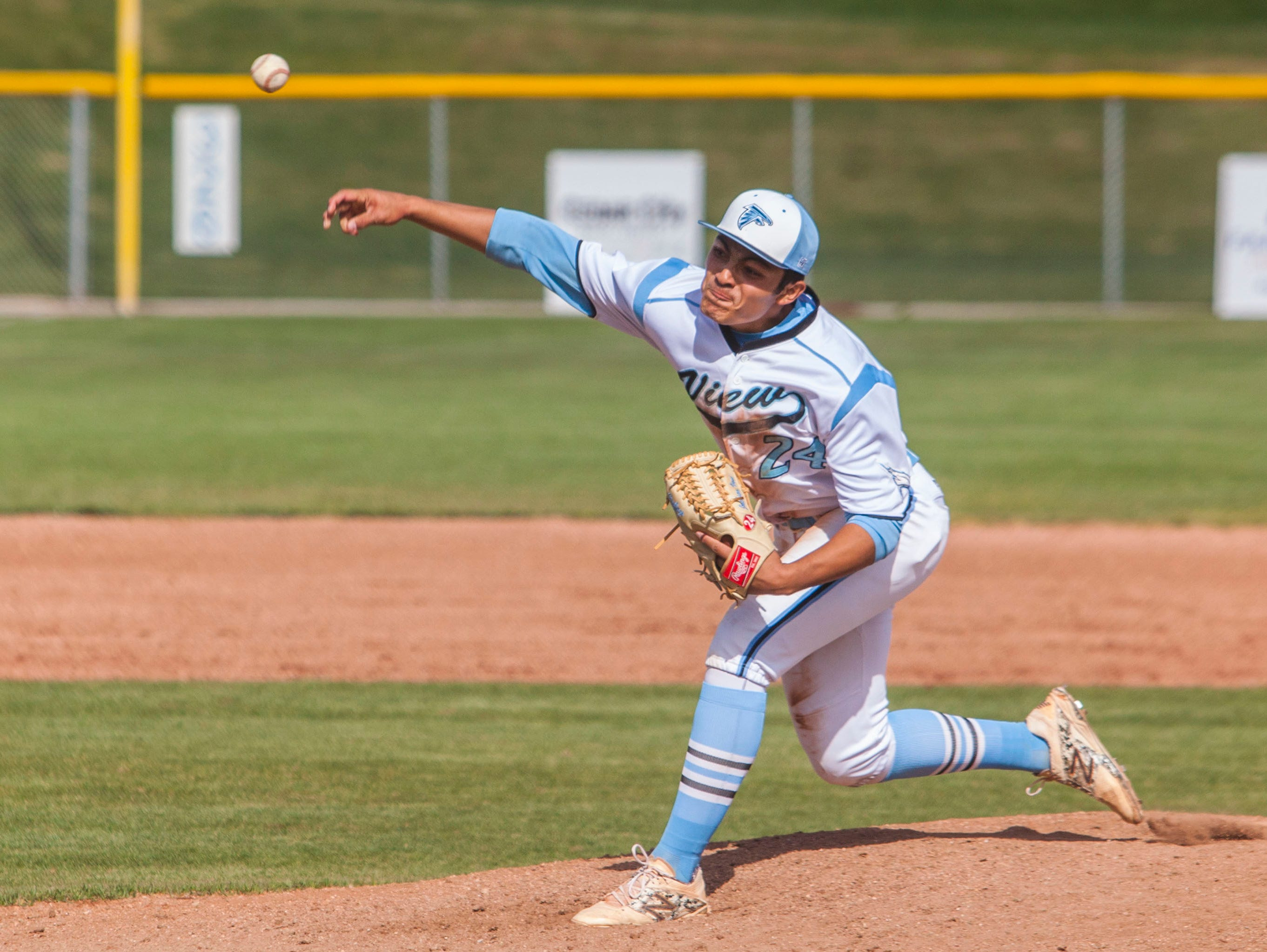 Canyon View's Jackson Vasi throws a pitch during the game against Juab, Tuesday, April 26, 2016.