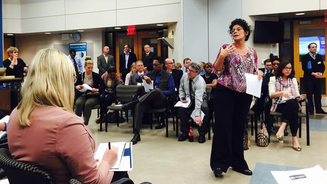 Education consultant Munirah Mawusi speaks Tuesday, April 28, 2015 during a diversity forum at the Bloomfield Hills Schools' Booth Center.