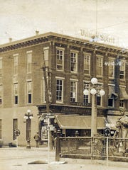 This is the former Ludwig Building on Memorial Square during the early 1900's. This building at the time was occupied by Skinner's Drug Store and the Valley Spirit Newspaper as you can see the sign at the top of the building. It also housed the Chambersburg Trust Company for a brief time. Today, the building is home to Public Opinion.