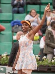 Venus Williams (USA) celebrates match point  against