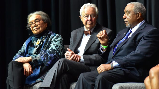 April 4, 2018 - Bernard Lafayette (right) discusses resistance as a core value during a panel discussion. The event was part of MLK50 and held at the Crosstown Concourse. Joining Lafaette on the panel are (from left) Marian Wright Berry Edelman and Mike Cody, also on the panel but not pictured are Diane Nash, Bree Newsome and Nicole Porter.  (Stan Carroll)