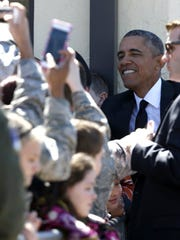 President Obama greets visitors March 7, 2015, in Montgomery,