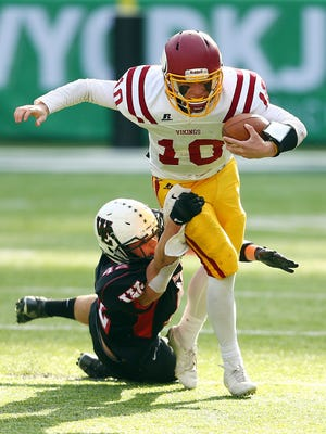 Anthony Sangillo of West Essex taking down Voorhees quarterback George Eberle in the North 2, Group 3 title game.