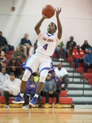 Camden's Nasim Hinson takes a shot during a win over Camden Catholic on Tuesday.