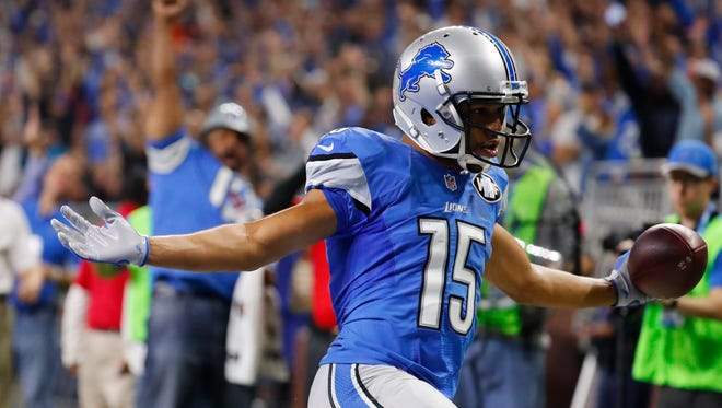Lions receiver Golden Tate runs into the end zone for a touchdown during the second half against the Los Angeles Rams, Sunday, Oct. 16, 2016, in Detroit.