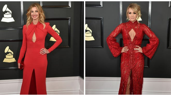 Faith Hill (left) and Carrie Underwood at the 59th annual Grammy Awards at the Staples Center on Sunday, Feb. 12, 2017.
