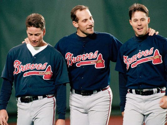 Tom Glavine, John Smoltz and Greg Maddux