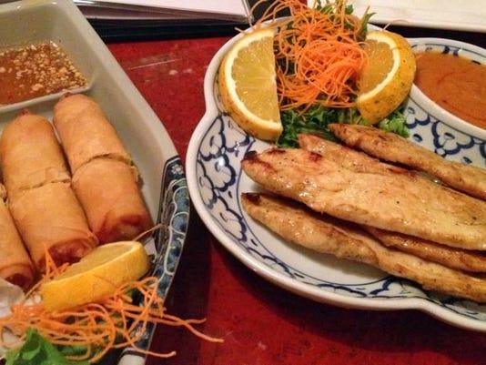 thai spring rolls and satay chicken at osaka.jpg