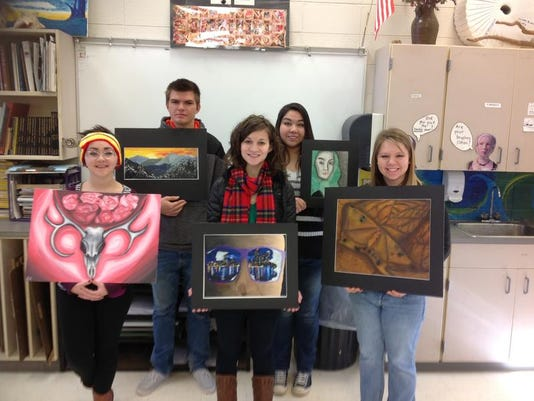 Smoky Mt High students&their artworks.jpg
