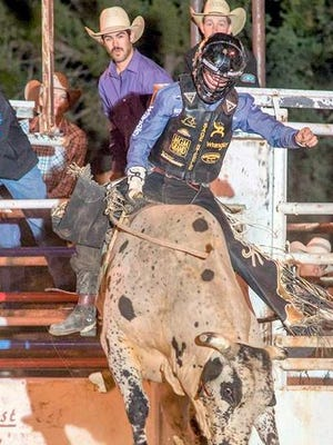 Sage Kimzey scored a 90 on Super Villain during Wednesday's Boys and the Bulls in the Wild, Wild West Pro Rodeo.