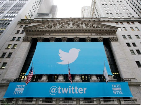Twitter signage is draped on the facade of the New York Stock Exchange in November.