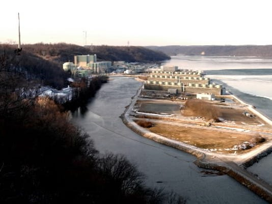 In this 2004 photo, white casks full of spent fuel are seen at Peach Bottom.