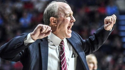 Ben Howland reacts during MSU's loss against Ole Miss.