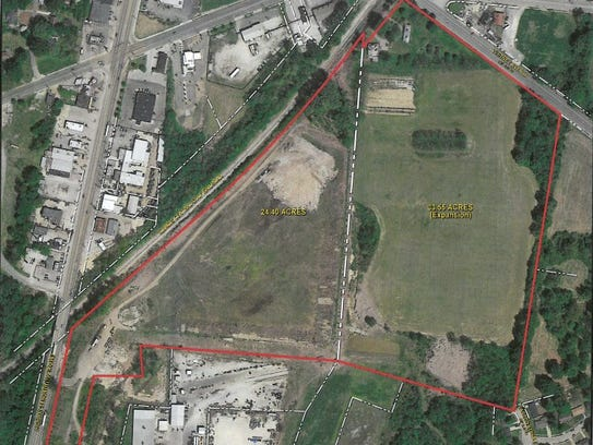 Area of proposed landfill expansion by Memphis Wrecking