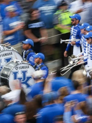 The Kentucky band enters the stadium before a recent Wildcat football game.