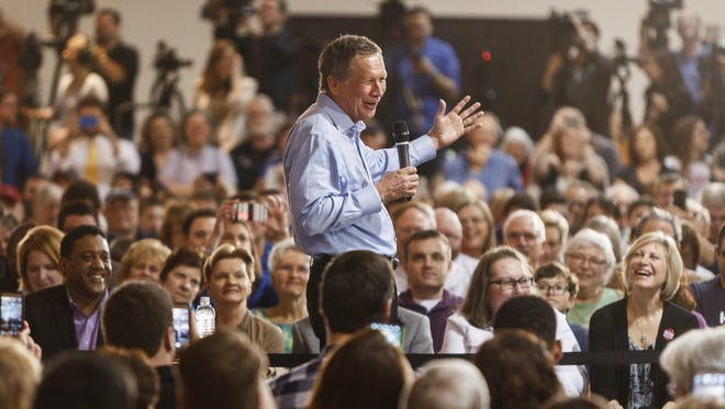 Republican presidential candidate, Ohio Gov. John Kasich speaks during a town hall event at the Antique Automobile Club of America Museum in on Friday, April 1, 2016 in Hershey, Pa.