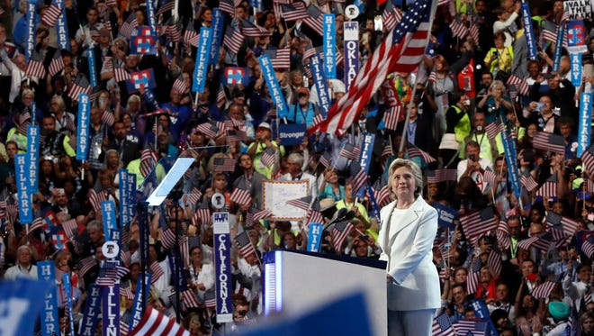 Democratic presidential nominee Hillary Clinton speaks during the final day of the Democratic National Convention in Philadelphia , Thursday, July 28, 2016. (AP Photo/Paul Sancya)