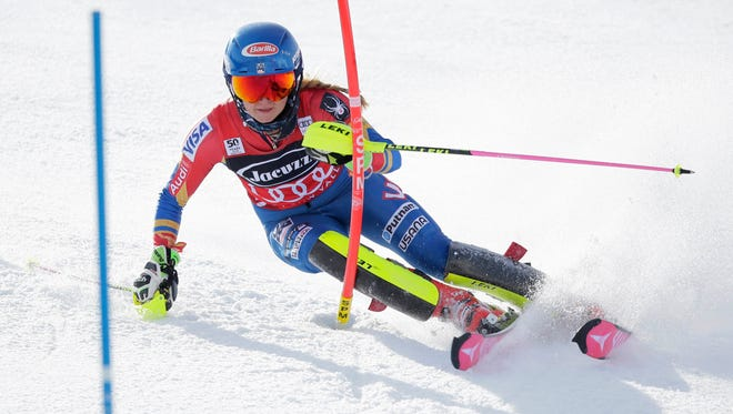Mikaela Shiffrin of the United States during the first run in the women's slalom race in the Audi FIS alpine skiing World Cup at Squaw Valley on March 11.