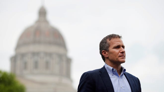 Eric Greitens looks on before speaking at an event near the capitol in Jefferson City, Mo. on May 17, 2018.