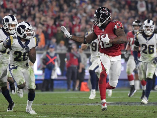 Atlanta Falcons wide receiver Mohamed Sanu (12) runs