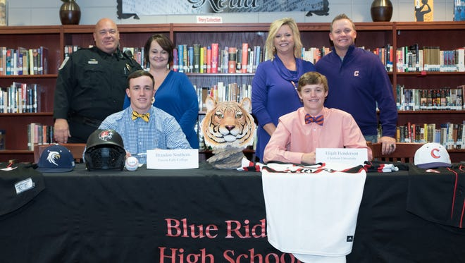 Blue Ridge seniors Brandon Southern, left, and Elijah Henderson signed baseball scholarships, Southern with Toccoa Falls (Ga.) College and Henderson with Clemson University.