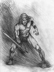 Kurt Brugel's pencil drawing of Crom, complete with a modern physique.