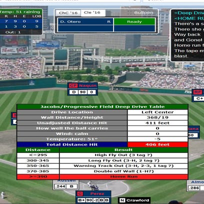 A screenshot of Addison Russell's solo home run in the seventh inning of Game 2 in the Simulated World Series.