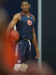 Auburn's Austin Wiley (50) looks on during the first practice of the 2017-2018 NCAA Basketball Season on Friday, Sept. 29, 2017, in Auburn, Ala.