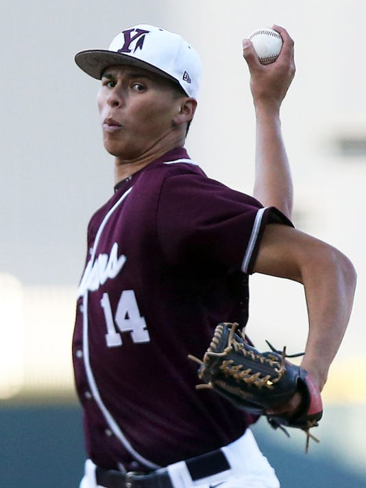 Rudy Gutierrez—El Paso Times Ysleta's ,Justin Maese pitches against Riverside last Tuesday at Southwest University Park.