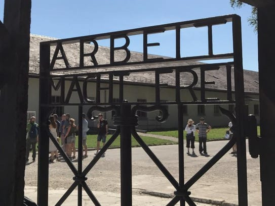 The entrance gate to Dachau, the first concentration