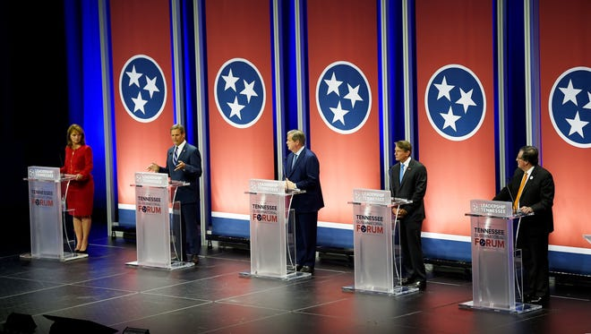Gubernatorial candidates Beth Harwell, Bill Lee, Karl Dean, Randy Boyd and Craig Fitzhugh face the audience at a candidate forum at Lipscomb's Allen Arena on May 15, 2018, in Nashville.