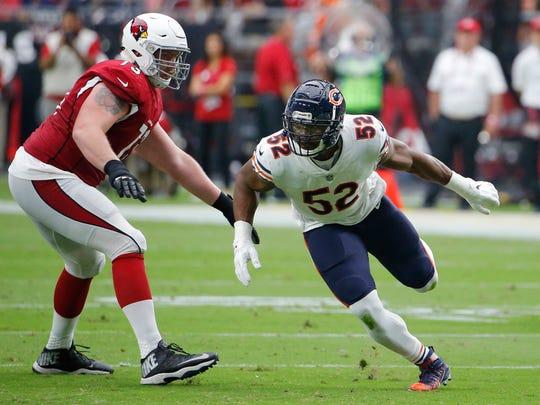 Chicago Bears linebacker Khalil Mack (52) runs past Arizona Cardinals offensive guard John Wetzel (73)during the first half of an NFL football game, Sunday, Sept. 23, 2018, in Glendale, Ariz. (AP Photo/Rick Scuteri)